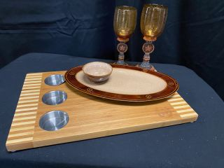 [Western Moments Cutting Board, 2 Chip & Dip Sets, and Stemware]