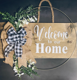 [Handcrafted Welcome Sign]