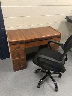 [Completely Refinished Antique Desk with Desk Chair]