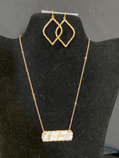 [Cross = Love Necklace with Gold Earrings]