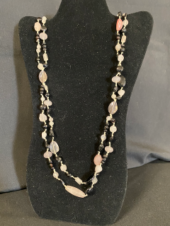 [Beautiful Handmade Double Strand Pink/White/Black Necklace]