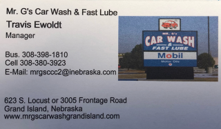 [Mr. G's Car Wash Protection Package Punch Card]