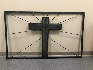 [Metal Cross with Wood Accents]